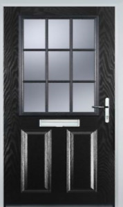 NEW Black Grill Composite Door - Stippolyte glass - Made To Measure