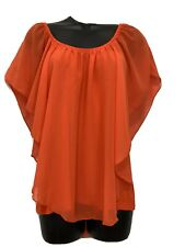 Cha Cha Vente S Orange Blouse Flutter Over Sleeveless Top Shirt