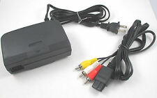 USA N64 Nintendo 64 Hookup Connection Kit AC Adapter Power Cord RCA AV Cable