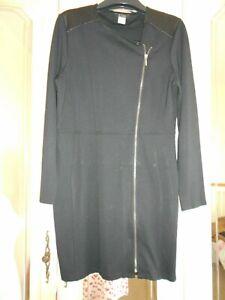 La Redoute black stretch jersey zip front dress size 18