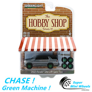 CHASE ! Green Machine ! 1:64 Hobby Shop - 2021 Chevrolet Tahoe with Spare Tires