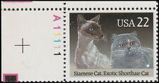 Us 2372 American Cats Siamese & Exotic Shorthair 22c plate single Ul Mnh 1988