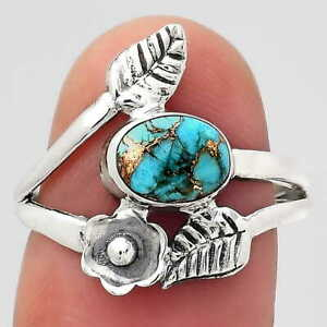 Floral - Copper Blue Turquoise 925 Sterling Silver Ring s.7.5 Jewelry E736