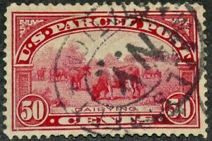 US 1913 #Q10 - 50c Parcel Post Dairy Cows Wall Street Cancel Used XF-Sup