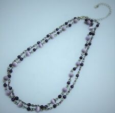 """Ladies Necklace,Purple,Two Loops,Dual Layer,Beaded,15""""/38 Cm,Fast Free P&P"""
