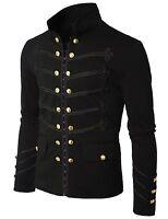 Men Black Embroidery Military Napoleon Hook Jacket 100% Cotton