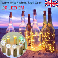20 LED Wine Beer Bottle Cork Fairy Lights Gold Wire Multi Colour Warm Cool White