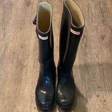 Hunter Womens Rainboots Black Knee High Pull On Low Heel Outdoor Water 8 EU 39 M