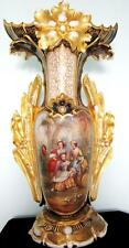 "C19th French Porcelain Vase hand painted scene - HUGE 25""- has FAULTS"