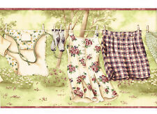 Country Laundry Room Hanging Clothes Line Burgundy Floral Dress Wallpaper Border