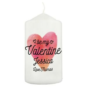 Personalised Be My Valentine Pillar Candle Valentines Day Gift Idea