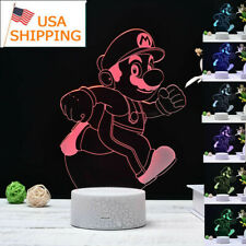 Super Mario 3D LED 7 Colour Night Light Touch Table Desk Lamp birthday Gift US
