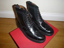 BNIB Grenson Fred Vibram Sole Brogue Boots 5068/11VB Triple Black UK8.5 US9.5