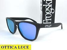 Oakley Frogskins 9013 24-298 Matte Black Violet Iridium Sunglass Occhiali Sole
