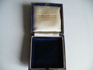 A QUALITY VINTAGE ANTIQUE BLUE LEATHER JEWELLERY BOX  BY G M LANE LONDON