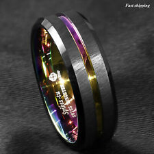 8MM Black Brushed Tungsten Carbide Ring Rainbow Line Wedding Band ATOP Jewelry