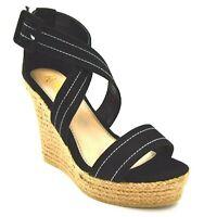 Refresh Womens Crisscross T Strap Platform Wedge Sandals US Size 7.5 Black New