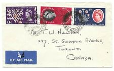 London, England to Toronto, Canada 1961 Scott 379-381 First Day P.O. Bank issue