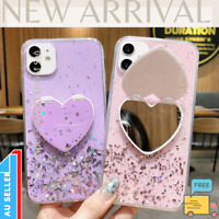 Heart Mirror Sequins Glitter Shockproof Phone Case For iPhone 12 11 Pro XR 6 7 8
