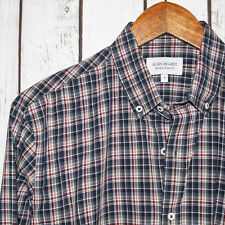 ALAIN FIGARET Extra Slim Fit Men's Button Front Shirt Blue Plaid Size Medium