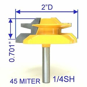 "1 pc 1/4"" Shank 2"" Diameter Cutting Depth 11/16"" 45° Lock Miter Router Bit S"