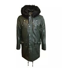 Dark Green Leather Parka Coat Jacket Hoodie With Black Fur Trim Size Small
