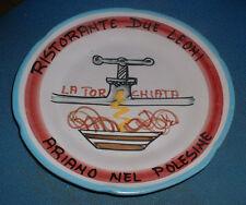 Piatto Buon Ricordo Ristorante : DUE LEONI Ariano nel Polesine La Torchiata 1983