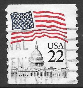 U.S. Scott #2115 22c Flag Stamp USED PS1 Plate #13 F-VF