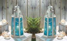 2 White Lighthouse Candle Lanterns Lamps w/ Ocean Blue Glass Coastal Decor