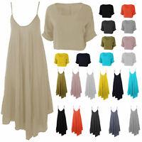 Womens Italian Lagenlook Cami Strap X-Flare Hem Midi Dress or Textured Over Top