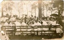 Large Group Of People Sitting At Outdoor Table Original ca 1900s Photo Postcard