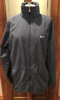 Men's Vintage Nike Black Blue Windbreaker Jacket Coat White Small Tick - Large