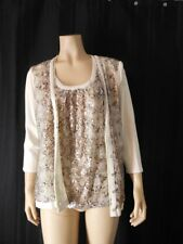 Chicos Cardigan Twin set 0 Small Medium beige Knit Tank embellished Snakeskin