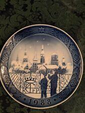 """1988 """"Christmas Eve in Copenhagen"""" Denmark Royal Copenhagen Porcelain Plate"""