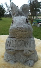 WELCOME BUNNY RABBIT CONCRETE GARDEN STATUE - ANTIQUED WHITE