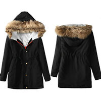 AU Women's Plus Hooded Coat Winter Parka Coats Top Cotton Ladies Outwear Jacket