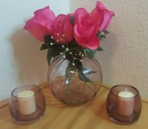 3 PIECE AMETHYST SET 1 ROUND OPTIC POTPOURRI VASE AND 2 CANDLE HOLDERS