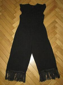 ZARA Black Cap/S Round Neck Fringed Leg Jumpsuit M