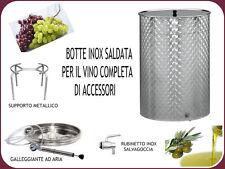 BOTTE INOX SALDATA FIORETTATA LT. 200 + GALL.ARIA SUPPORTO E RUBINETTO INOX
