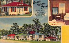 Linen Postcard Shaw's Motor Court in Lake City, Florida~122958