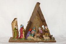 Antique Crèche de noël avec Figurines en bois Boîte à Musique