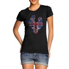 Women's Union Jack Twin Skeleton Diamante Rhinestone T-Shirt