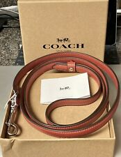 Coach Red Leather/Silver Coach Dog Leash Small New In Box & Tags Attached