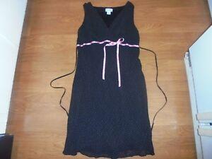 Motherhood Maternity trendy black sleeveless dress with white polka dots size S