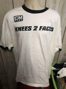CM Punks Knees 2 Faces Licensed WWE T shirt White Ringer Size 3X