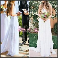Lace Beach Wedding Dress Summer Boho Backless Bridal Gown 2 4 6 8 10 12 14 16+++