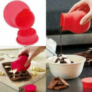 Silicone Chocolate Melting Pot Mould Butter Sauce Milk Baking Tool Red. I9D8