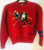 Vintage Polo Ralph Lauren Hockey Hand Knit Wool Sweater Youth Size 14