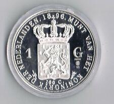 1 ounce ZILVEREN 1 gulden 1896 REPLICA  .925 zilver PROOF capsule + certificaat