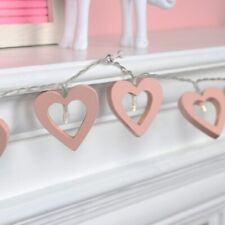 Wooden Pink Heart Night Light 10 LED Battery Operated Fairy String Lights